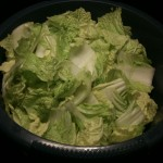 Cut Chinese cabbage, mix with 1-1.5% amount of salt and leave for 1 hour - 1 night