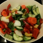 Cut vegetable and add salt (1-2% amount of vegetables)