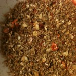 Ground spice (Cumin seeds, Coriander seeds and dried Chili peppers). The smell is amazing!