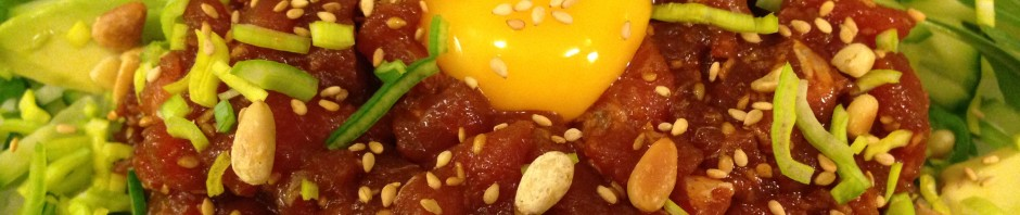 6. Put vegetable on the plate, #5, egg yolk. Sprinkle pine nuts, sesame.